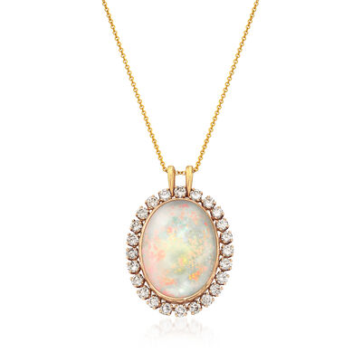 C. 1970 Vintage Oval Opal and 2.90 ct. t.w. Diamond Pendant Necklace in 14kt Yellow Gold, , default