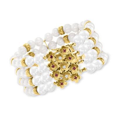 C. 1980 Vintage 6.5x7mm Cultured Pearl Multi-Strand Bracelet with .30 ct. t.w. Rubies and .12 ct. t.w. Diamonds in 14kt Yellow Gold