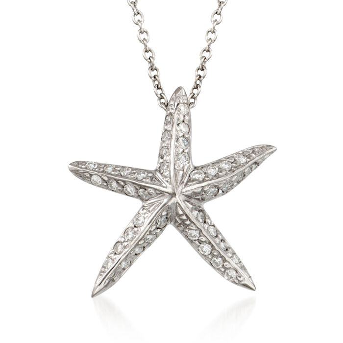 "Roberto Coin Tiny Treasures .16 Carat Total Weight Diamond Starfish Necklace in 18-Karat White Gold. 16"", , default"