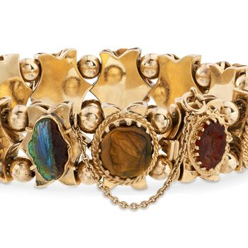 """C. 1960 Vintage Carved Cameo Multi-Stone Charm Bracelet in 14kt Yellow Gold. 7"""", , default"""