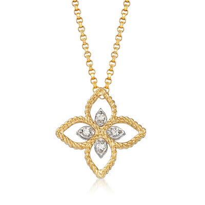 "Roberto Coin ""Princess"" 18kt Two-Tone Gold Flower Pendant Necklace with Diamond Accents, , default"