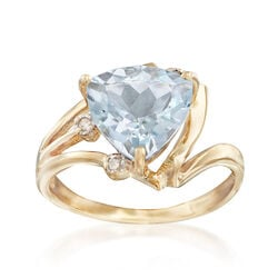 C. 1990 Vintage 2.27 Carat Aquamarine Ring With Diamond Accents in 10kt Yellow Gold, , default