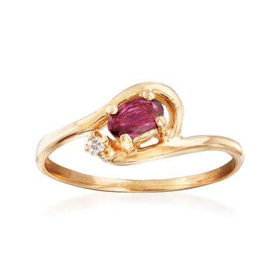 C. 1980 Vintage .20 Carat Ruby Ring with Diamond Accent in 14kt Yellow Gold, , default