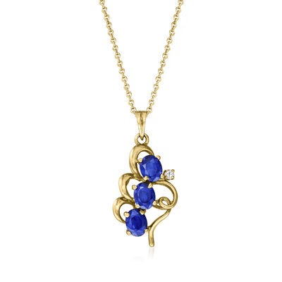 C. 1990 Vintage 1.35 ct. t.w. Sapphire Pendant Necklace with Diamond Accents in 14kt Yellow Gold
