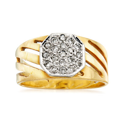 C. 1980 Vintage .25 ct. t.w. Pave Diamond-Top Ring in 18kt Yellow Gold