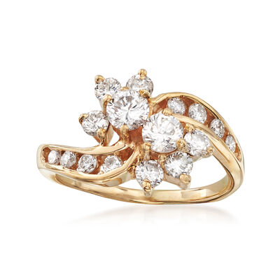 C. 1990 Vintage 1.25 ct. t.w. Diamond Cluster Ring in 14kt Yellow Gold, , default