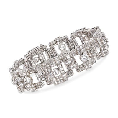 C. 1970 Vintage 13.35 ct. t.w. Diamond Link Bracelet in Platinum, , default