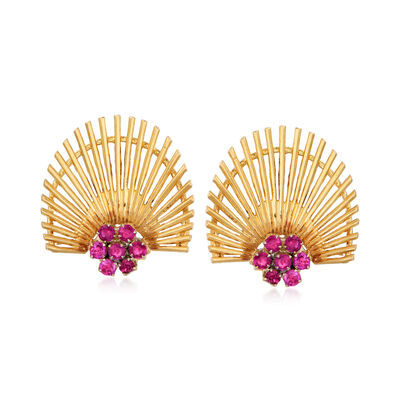 C. 1970 Vintage 1.10 ct. t.w. Ruby Fan Earrings in 18kt Yellow Gold