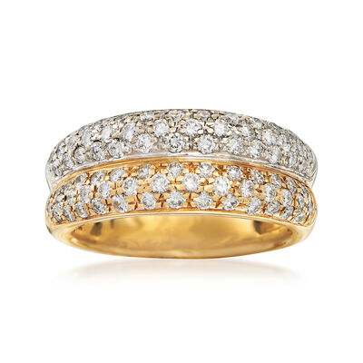 C. 1990 Vintage 1.20 ct. t.w. Double-Band Pave Diamond Ring in Two-Tone Gold, , default