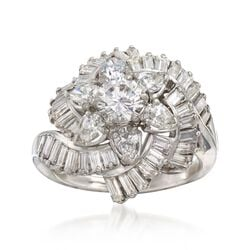 C. 1990 Vintage 3.76 ct. t.w. Certified Diamond Floral Cluster Ring in Platinum, , default