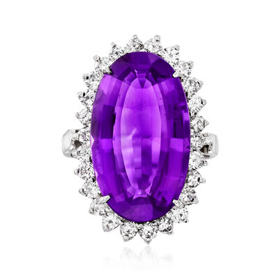 C. 1990 Vintage 12.50 Carat Amethyst and 1.30 ct. t.w. Diamond Ring in 14kt White Gold