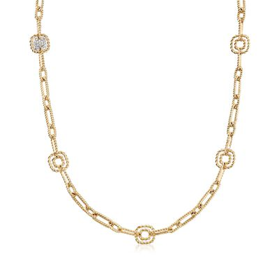 "Roberto Coin ""Barocco"" .17 ct. t.w. Diamond Link Necklace in 18kt Yellow Gold, , default"
