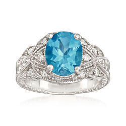 C. 1990 Vintage 3.40 Carat Blue Topaz and .25 ct. t.w. Diamond Ring in 14kt White Gold, , default