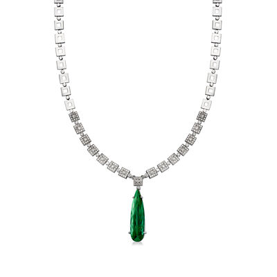 C. 1970 Vintage 11.80 Carat Green Tourmaline and 1.50 ct. t.w. Diamond Necklace in 18kt White Gold
