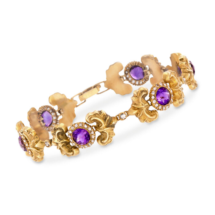 "C. 1910 Vintage 8.00 ct. t.w. Amethyst and 1.85 ct. t.w. Diamond Bracelet in 14kt Yellow Gold. 8"", , default"