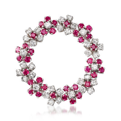C. 2000 Vintage 3.00 ct. t.w. Ruby and 2.15 ct. t.w. Diamond Floral Wreath Pin in Platinum, , default