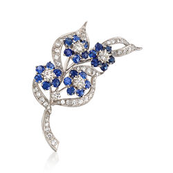 C. 1990 Vintage 2.75 ct. t.w. Sapphire and 1.85 ct. t.w. Diamond Floral Pin in Platinum, , default
