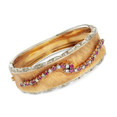 C. 1960 Vintage 1.05 ct. t.w. Ruby and .85 ct. t.w. Diamond Bangle Bracelet in 18kt Two-Tone Gold, , default