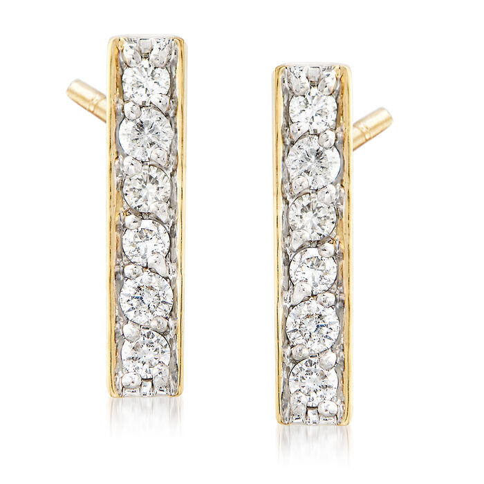 .25 ct. t.w. Diamond Bar Drop Earrings in 14kt Yellow Gold, , default