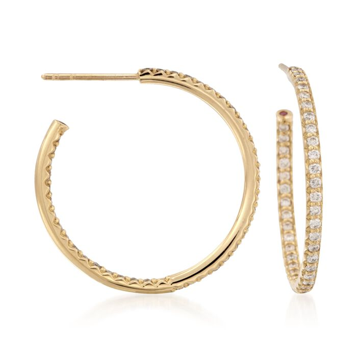 Roberto Coin .80 Carat Total Weight Diamond In-And-Out Hoops in 18-Karat Yellow Gold