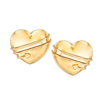 C. 1994 Vintage Tiffany Jewelry 18kt Yellow Gold Heart Earrings, , default