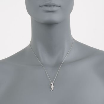 "Roberto Coin .10 Carat Total Weight Diamond Seahorse Necklace in 18-Karat White Gold. 18"", , default"