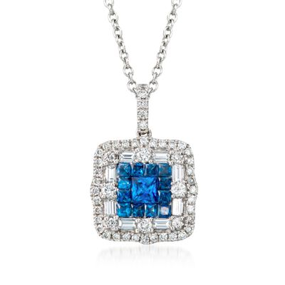 Gregg Ruth .81 ct. t.w. Sapphire and .66 ct. t.w. Diamond Pendant Necklace in 18kt White Gold, , default
