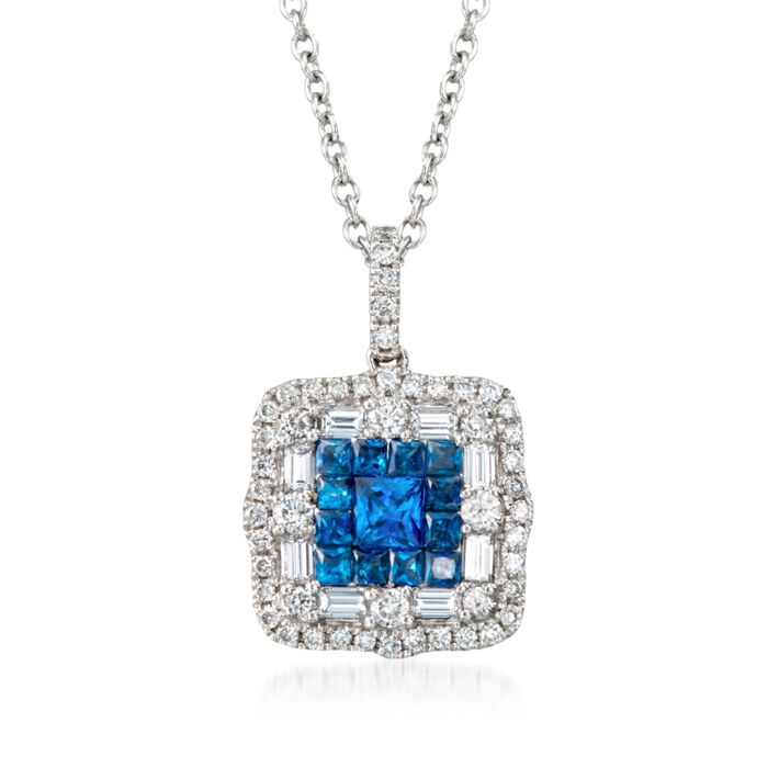 """Gregg Ruth .81 Carat Total Weight Sapphire and .66 Carat Total Weight Diamond Necklace in 18-Karat White Gold. 18"""", , default"""