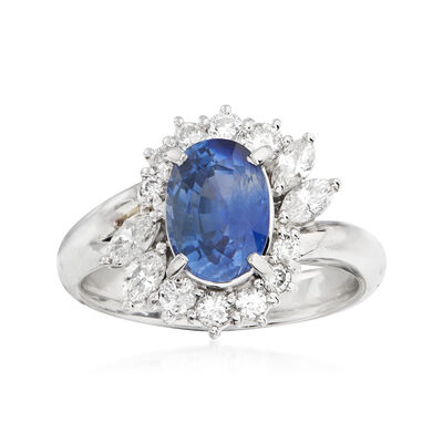 C. 1990 Vintage 2.19 Carat Sapphire and .67 ct. t.w. Diamond Floral Ring in Platinum