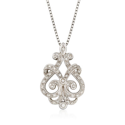 C. 1990 Vintage .20 ct. t.w. Diamond Open Scrollwork Necklace in 14kt White Gold, , default