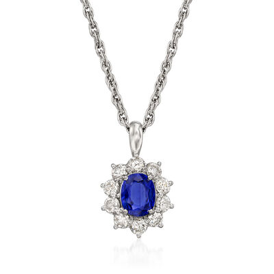 C. 1990 Vintage 1.02 Carat Certified Sapphire and .83 ct. t.w. Diamond Pendant Necklace in Platinum
