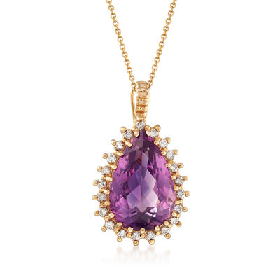 C. 1980 Vintage 11.45 Carat Amethyst and .60 ct. t.w. Diamond Pendant Necklace in 14kt Yellow Gold, , default