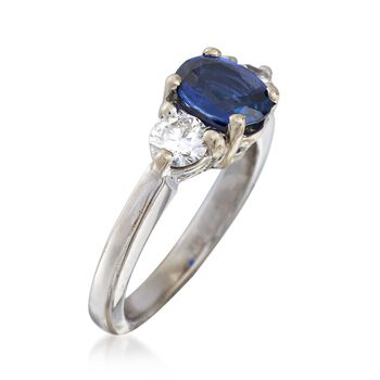 C. 2000 Vintage 1.15 Carat Sapphire and .50 ct. t.w. Diamond Ring in 14kt White Gold. Size 4.75