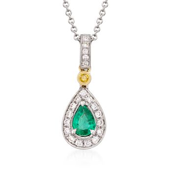 "Simon G. .22 Carat Emerald and .16 Carat Total Weight Diamond Necklace in 18-Karat Two-Tone Gold. 18"", , default"
