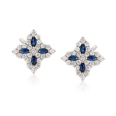 "Roberto Coin ""Princess Flower"" 1.01 ct. t.w. Diamond and .40 ct. t.w. Sapphire Flower Earrings in 18kt White Gold, , default"