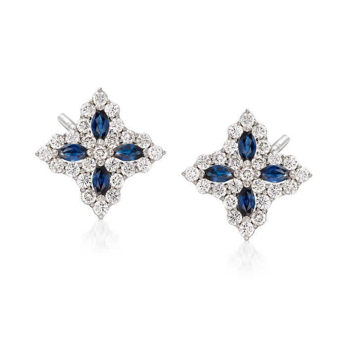"Roberto Coin ""Princess Flower"" 1.01 ct. t.w. Diamond and .40 ct. t.w. Sapphire Flower Earrings in 18kt White Gold"