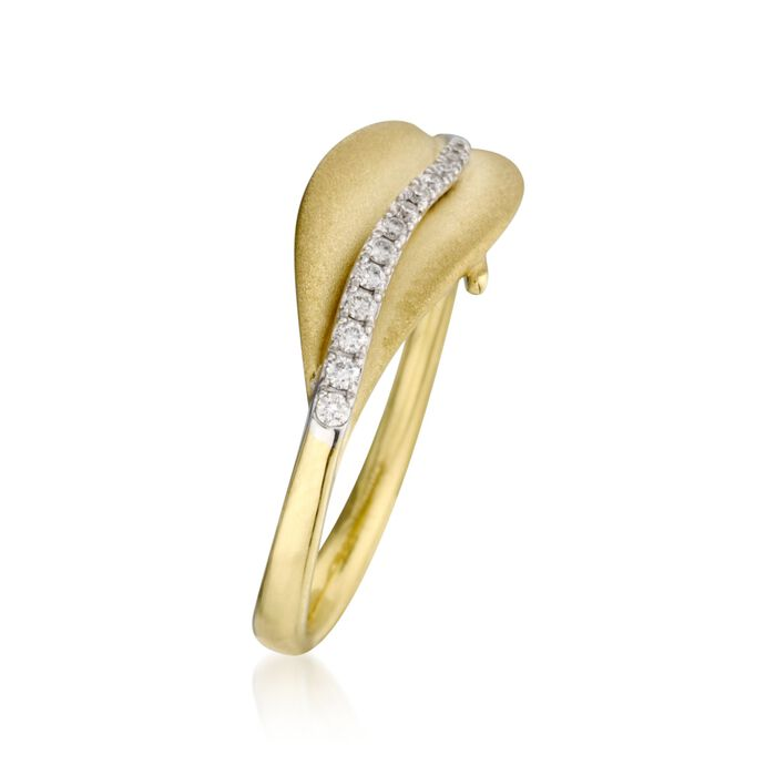 Simon G. 18kt Yellow Gold Leaf Design Ring with Diamonds