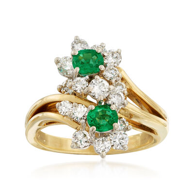 C. 1990 Vintage 1.05 ct. t.w. Diamond and .60 ct. t.w. Emerald Cluster Ring in 18kt Yellow Gold , , default
