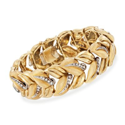 C. 1990 Vintage 1.50 ct. t.w. Diamond Leaves Bracelet in 18kt Yellow Gold, , default
