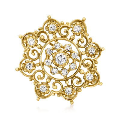 C. 1970 Vintage 1.10 ct. t.w. Diamond Flower Pin/Pendant in 14kt Yellow Gold