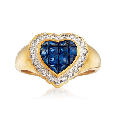 C. 1980 Vintage .75 ct. t.w. Sapphire and .25 ct. t.w. Diamond Heart Ring in 18kt Yellow Gold