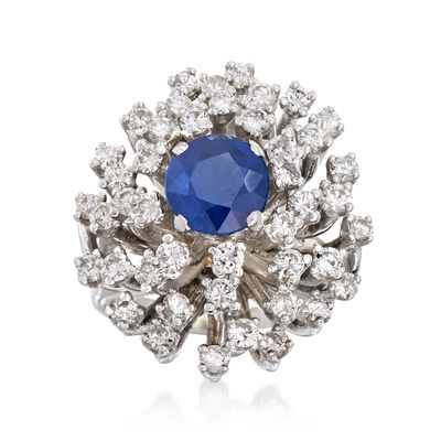 C. 1960 Vintage 1.78 Carat Sapphire and 1.75 ct. t.w. Diamond Cluster Ring in 14kt White Gold, , default
