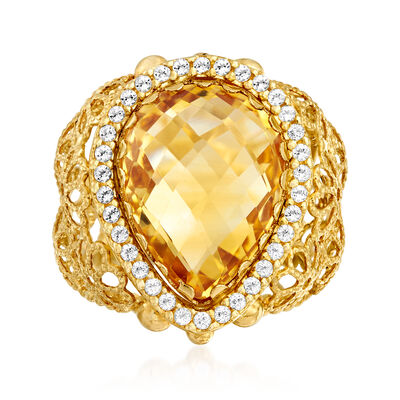 C. 1990 Vintage 7.00 Carat Citrine and .40 ct. t.w. White Topaz Floral Ring, , default