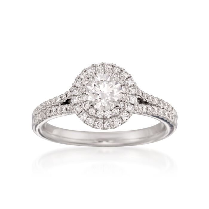 Henri Daussi .90 ct. t.w. Certified Diamond Halo Engagement Ring in 18kt White Gold, , default