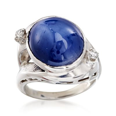 C. 1970 Vintage Sapphire and .15 ct. t.w. Diamond Ring in 14kt White Gold, , default
