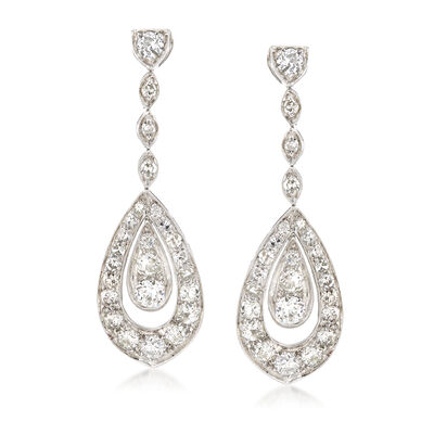 C. 1950 Vintage 3.00 ct. t.w. Diamond Clip-On Drop Earrings in Platinum, , default