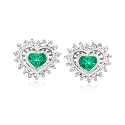 C. 1980 Vintage .70 ct. t.w. Emerald and .55 ct. t.w. Diamond Heart Earrings in 18kt White Gold