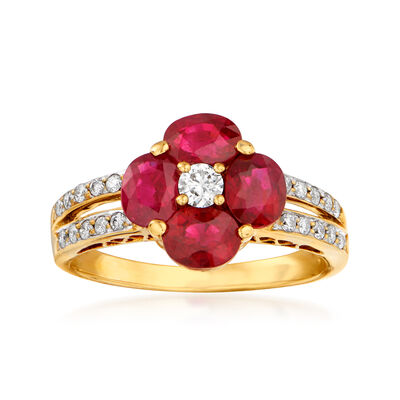 C. 1980 Vintage 2.21 ct. t.w. Ruby and .25 ct. t.w. Diamond Floral Ring in 18kt Yellow Gold