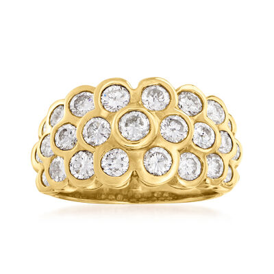 C. 1990 Vintage 2.10 ct. t.w. Bezel-Set Diamond Cluster Ring in 18kt Yellow Gold