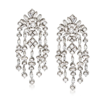 C. 1990 Vintage Diamond 10.00 ct. t.w. Chandelier Drop Earrings in Platinum